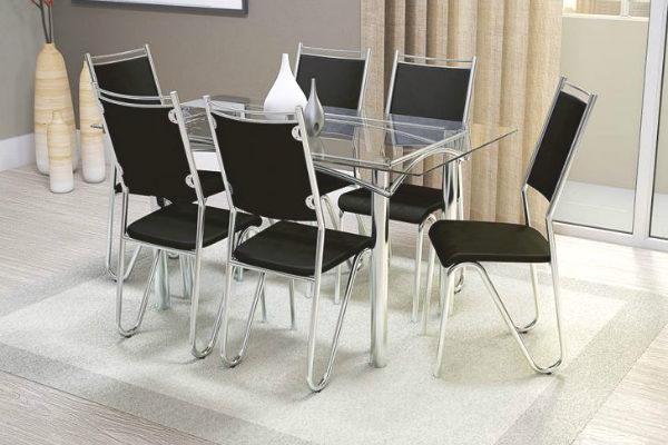 Kit mesa com 6 cadeiras
